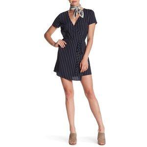 ASOS Rokoko medium Wrap Dress Stripe Navy Blue
